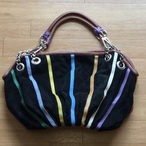 59910b656b2 MODA BARBARINI Bags - BOHO STRIPED black Suede Hobo handbag with chains